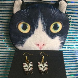 Kitty earrings and coin purse